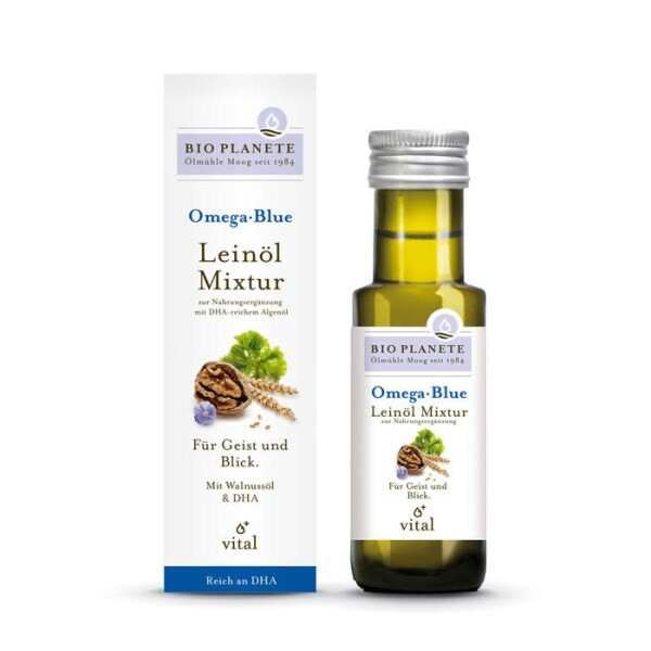 LOGO_Omega Blue · Flaxseed Oil Mixture for use as a food supplement ·