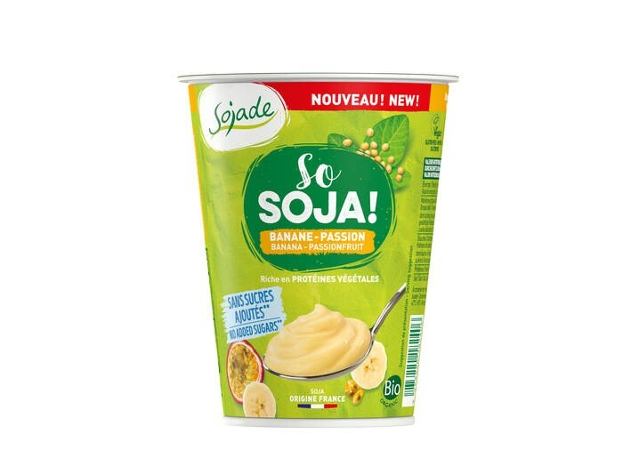 LOGO_Sojade Organic No added Sugar Banana & Passion fruit soya yogurt 400g
