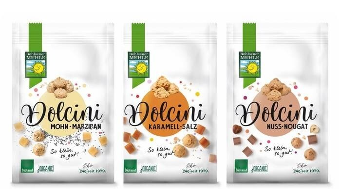 """LOGO_""""Dolcini"""" Fine biscuits with nut nougat, """"Dolcini"""" Fine biscuits with caramel and salt, """"Dolcini"""" Fine biscuits with poppy seed and marzipan"""