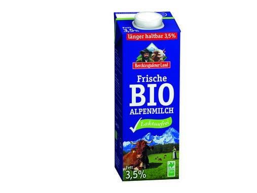 LOGO_Frische Bio-Alpenmilch laktosefrei, 3,5% Fett, Karton biobasiert, 90% aus nachwachsenden Rohstoffen.
