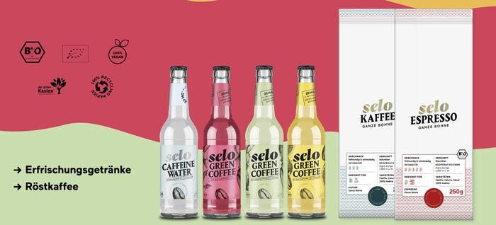 LOGO_selo caffeine water, selo green coffee und selo roasted coffee & espresso