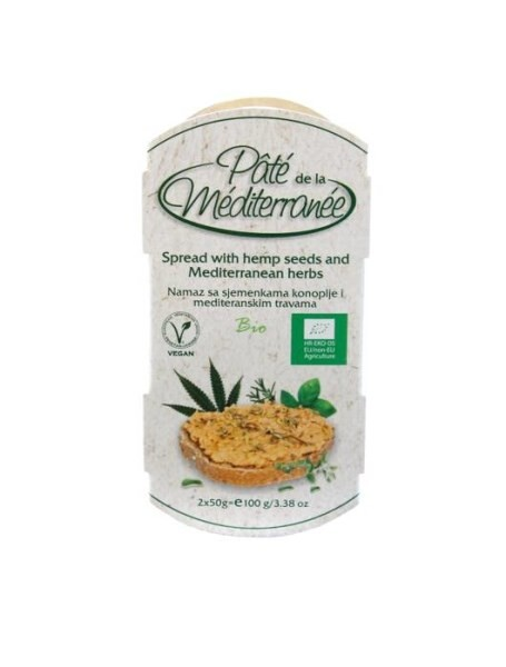 LOGO_Pate de la Mediterranee - SPREAD WITH CHICKPEARS AND HEMP SEEDS AND MEDITERRANEAN HERBS 100g