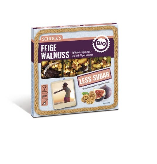 LOGO_Schock's Bio, Multipack, Less Sugar Riegel: Feige Walnuss 3x25g