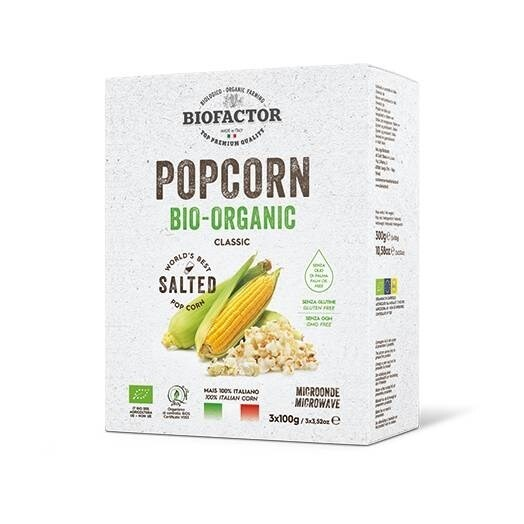 LOGO_ORGANIC CLASSIC POPCORN SALTED FOR MICROWAVE (3X 100G)