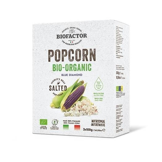LOGO_ORGANIC BLUE POPCORN SALTED FOR MICROWAVE ( 3X 100G)