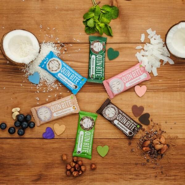 LOGO_QUIN BITE Raw fruit & nut bar - Blueberry, Coconut, Brownie, Choco mint, Hazelnut, Coco Choco, QUIN BITE mini bites.