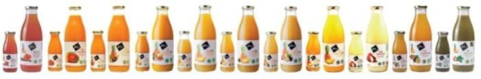 LOGO_Organic juices in glass bottle