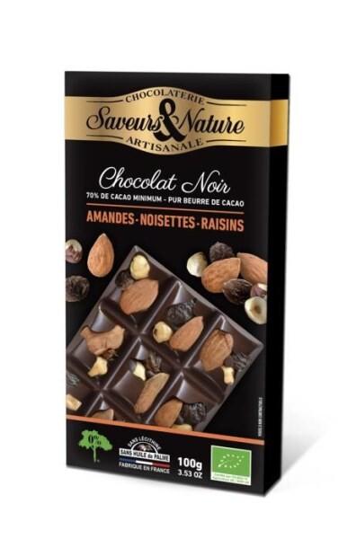 LOGO_Zartbitterschokolade 70% Kakao mindestens mit ganze mandeln, ganze haselnüsse und rosinen