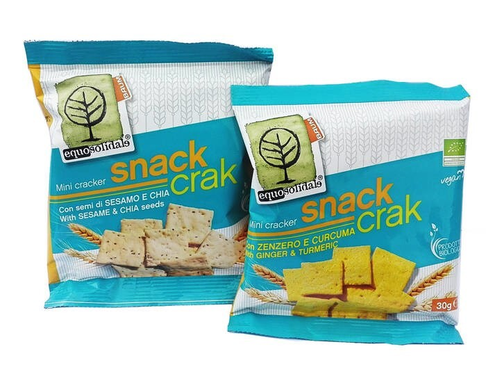 LOGO_SNACK CRAK: mini crackers with sesame and chia seeds and with ginger and turmeric