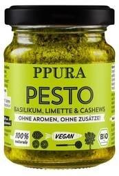 LOGO_Pesto Basilico - pesto with fresh basil, lime and cashew nuts (vegan, ohne Zuckerzusatz)