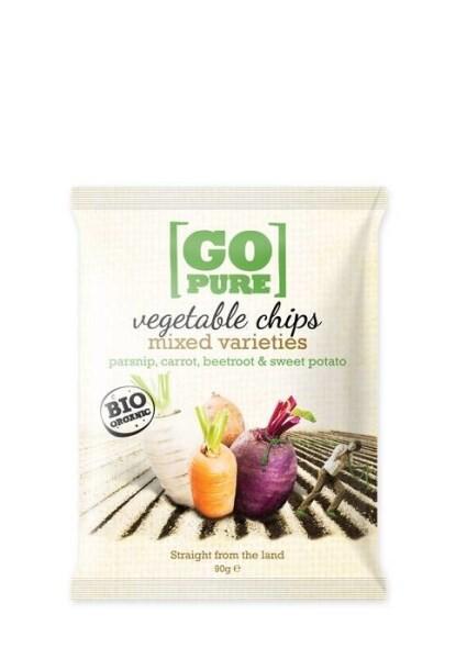 LOGO_GoPure organic vegetable chips mixed varieties parsnip, carrot, beetroot & sweet potato