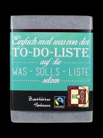 LOGO_BioArt Schoko Lyrik To-Do-Liste 70g, FT-Cert (Zartbitter Himbeer)