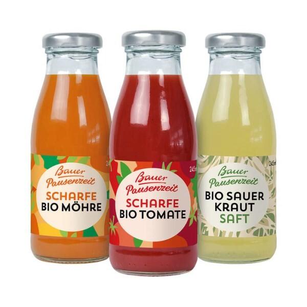 LOGO_Bauer Pausenzeit Scharfe Bio-Möhre, Bauer Pausenzeit Scharfe Bio-Tomate, Bauer Pausenzeit Bio-Sauerkraut