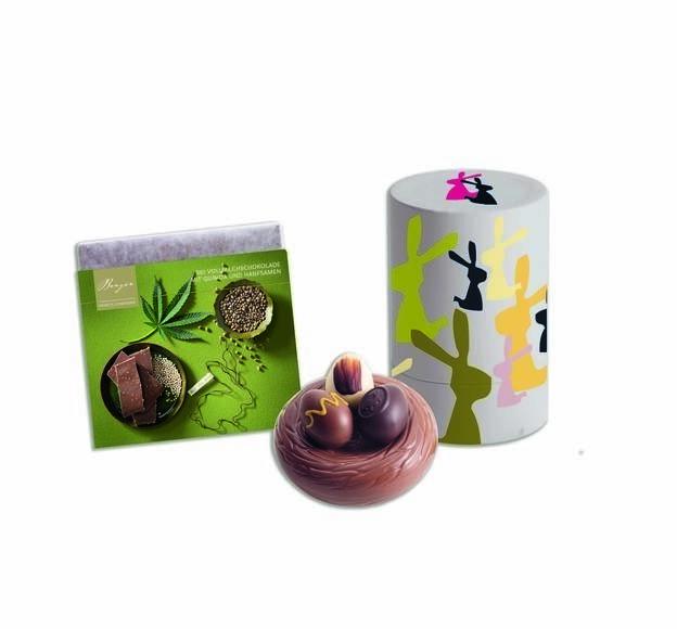 LOGO_Bio Schokoladentafel Hanf-Quinoa 90g, Bio Ei-Pralinenbox rund 120g, Bio Schokoladennest 100g