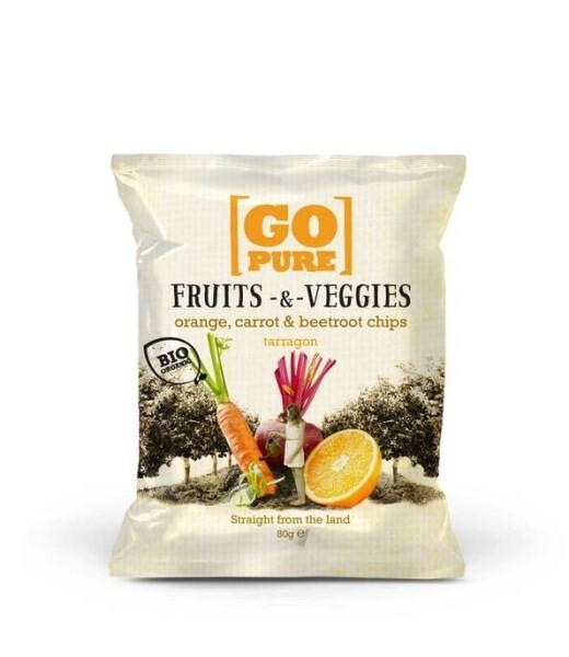 LOGO_GoPure organic Fruits & Veggies orange, carrot & beetroot chips tarragon 80g