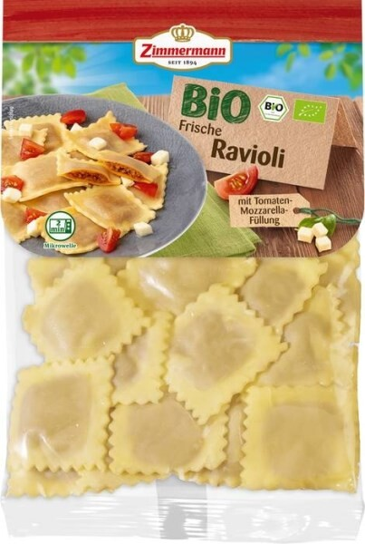LOGO_Bio Ravioli mit Tomaten-Mozzarella-Füllung