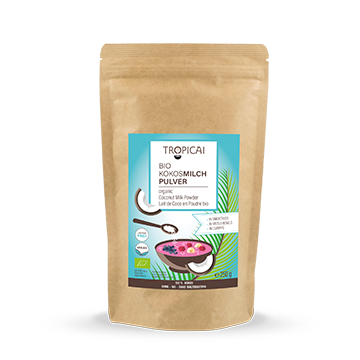 LOGO_Tropicai organic Coconut Milk Powder from 100 % coconut ingredients. Freez dried, no maltodextrin, vegan.