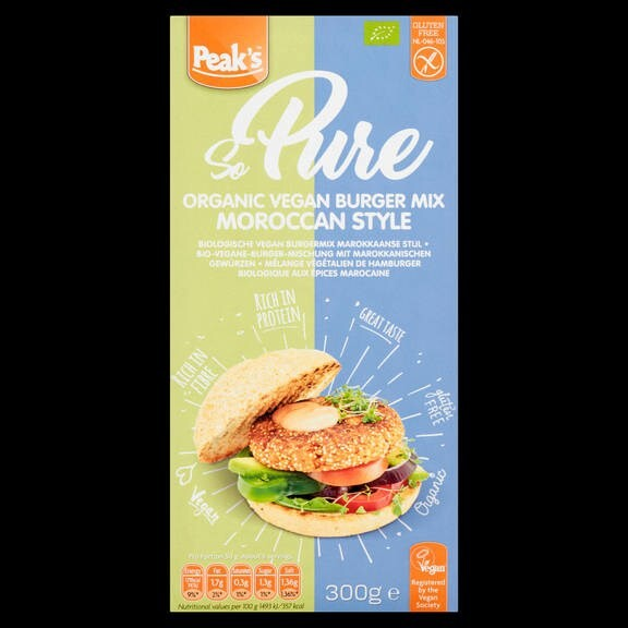 LOGO_Peak's So Pure Organic Vegan Burger mix Moroccan style