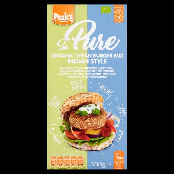LOGO_Peak's So Pure Organic Vegan Burger mix Indian style