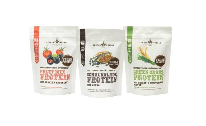 LOGO_Bio Vegane Protein Mixes mit Kakao-, Gras- oder Fruchtgeschmack