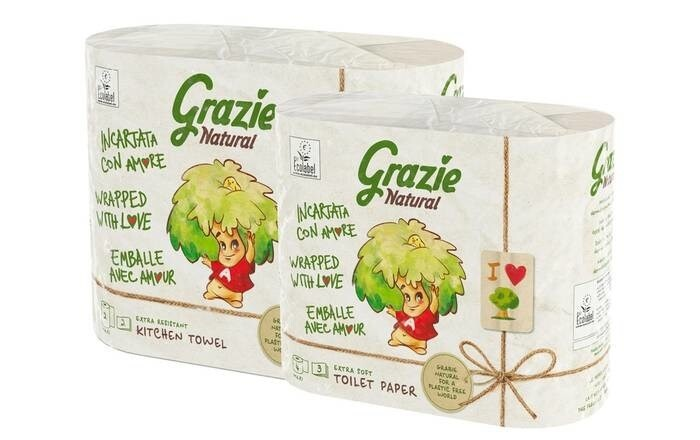 LOGO_Grazie Natural, tissue paper made from Fiberpack®, in recycled and recyclable paper packaging.
