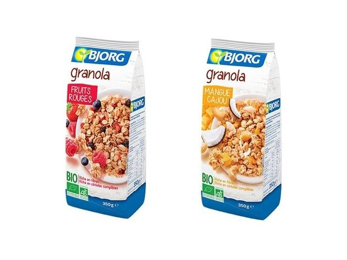 "LOGO_Bjorg Granola ""Red Fruits"" und ""Mango Cashew"""