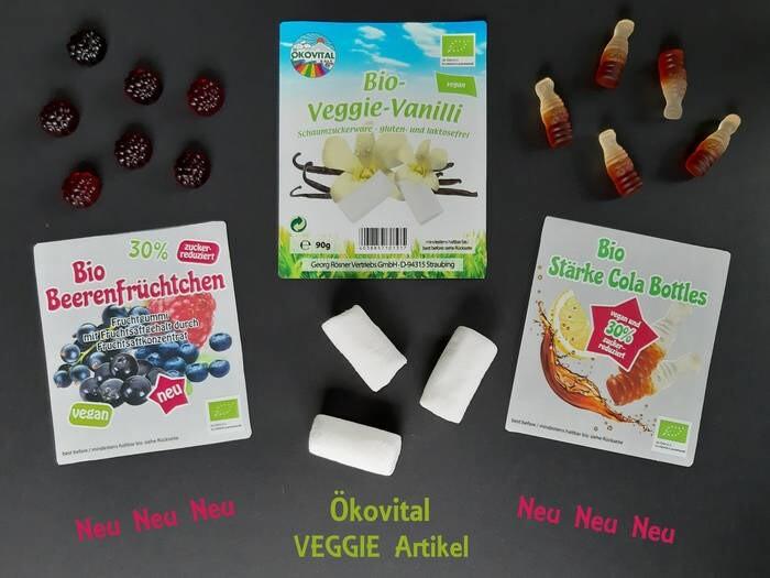 LOGO_Neue Vegane Fruchtgummis: BIO VEGGIE VANILLA-MELLOWS , BIO BEERENFRÜCHTCHEN, BIO STÄRKE COLA BOTTLES