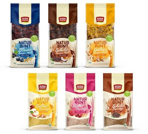 LOGO_Blaues Knuspermüsli ;Schoko Knuspermüsli ;Gelbes Knuspermüsli ;Gelber Porridge ;Roter Porridge ;Schoko Porridge