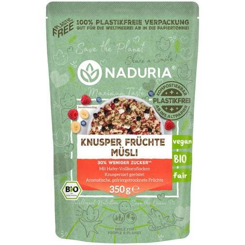 LOGO_NADURIA CRUNCHY FRUIT MUESLI with unique 100% plasticfree paper bag