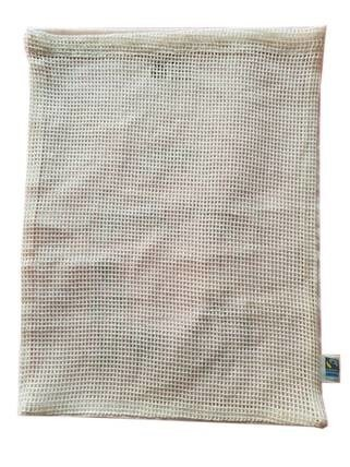 LOGO_reuseable cotton bag in fishnet mesh double side mesh in Fair trade and organic