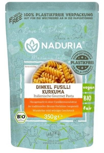 LOGO_NADURIA Dinkel Fusilli Kurkuma, in 100% plastikfreier Papierverpackung