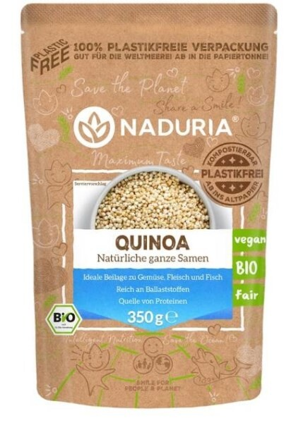LOGO_NADURIA Quinoa, in 100% plastikfreier Papierverpackung