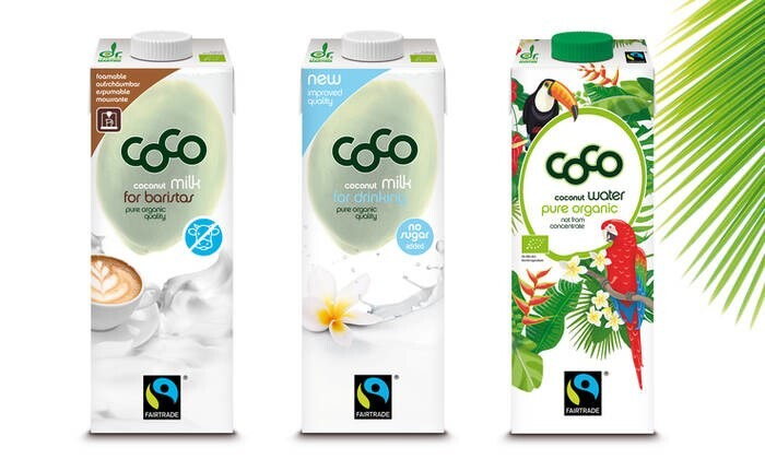 LOGO_N E W PRODUCTS: 1) coco milk for baristas FAIRTRADE 2) coco water unfiltered with coconut pulp FAIRTRADE 3) coco milk for drinking pure FAIRTRADE