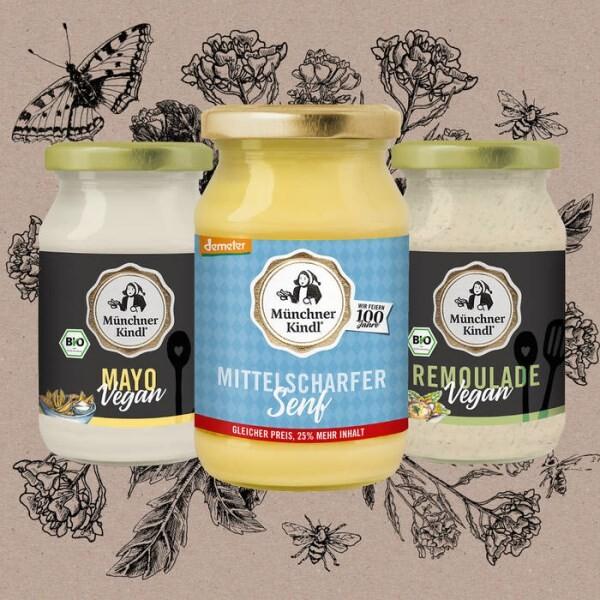 LOGO_Mittelscharfer Mustard Jubiläumssenf Demeter Vegane Mayo Vegane Remoulade