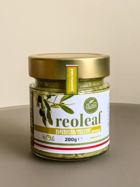 LOGO_REOLEAF Mit Oleuropein angereicherter Bio Aufstrich basierend auf Basis eines extra vergine Olivenöls