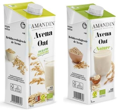 LOGO_Two New additions to Amandin Organic Oat range: Gluten Free and Nature. Full flavour from best organic crops.