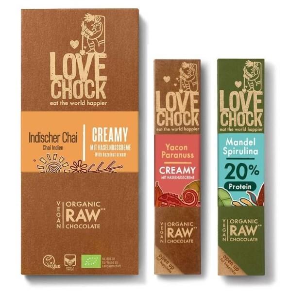 LOGO_Lovechock Creamy Yacon/Brazil Nut Lovechock Almond/Spirulina Lovechock Creamy Indian Chai