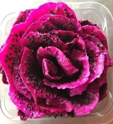 LOGO_Dehydrated red dragon fruit decorated as a rose