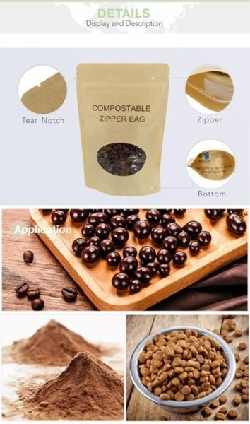 LOGO_Flat Biodegradable Coffee Bag With Compostable Valve