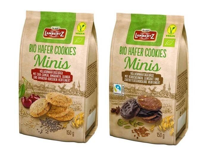 LOGO_Bio Hafer Cookies Minis, mit Amarena-Kirschen oder Zartbitterschokolade verfeinert, 150g