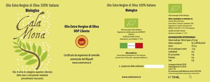 "LOGO_Organic Extra Virgin Olive Oil: CALA MONA 2019 ""DOP Cilento"""