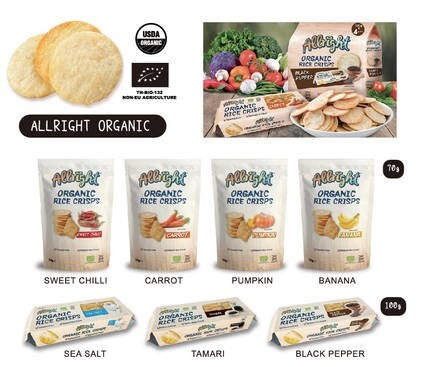 LOGO_100% Organic Rice Chips Range - 7 flavors available Allright Organic Rice Chips