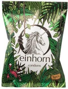 LOGO_einhorn Kondome, Chipstüte mit 7 Kondomen, fairstainable, vegan