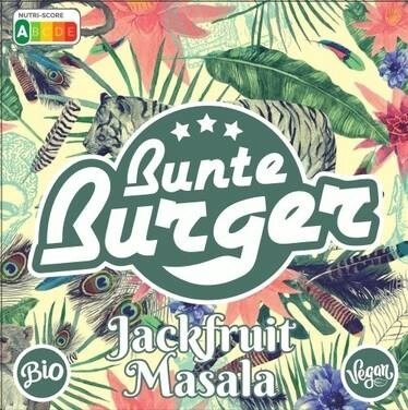 "LOGO_1A ""Jackfruit Masala"" Patty from Bunte Burger - VEGAN & HALAL, WITHOUT GLUTEN, SOY, PALM OIL"