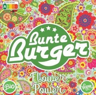 """LOGO_""""Flower Power"""" Patty von Bunte Burger - VEGAN & HALAL, OHNE ZUSATZ VON GLUTEN, SOJA, PALMÖL"""