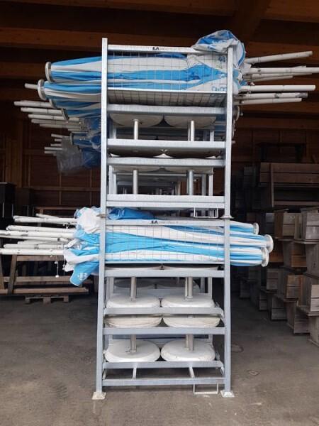 LOGO_NEU! NEU! NEU! Stapelbare Lager- und Transportbox für Schirme und Schirmständer. ACHTUNG! Gebrauchsmusterschutz