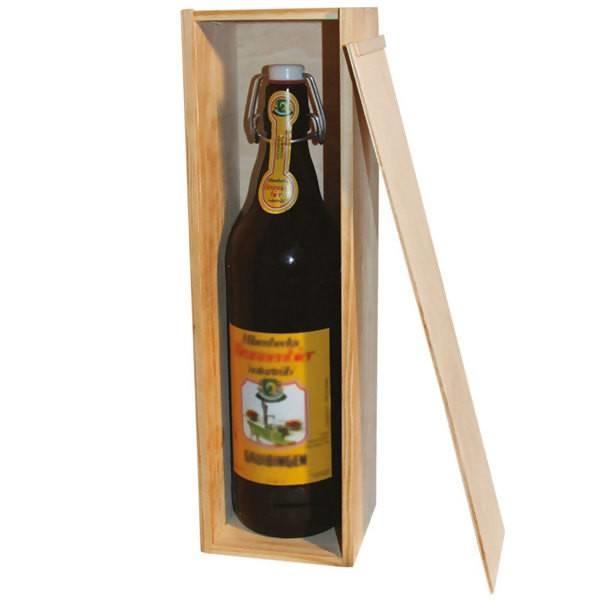 LOGO_Holzkiste mit Schiebedeckel für Bier