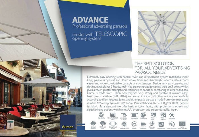 LOGO_ADVANCE Professional advertising parasols – model with TELESCOPIC opening system