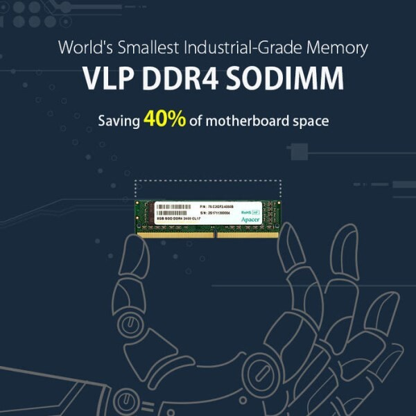 LOGO_Apacer announces world's smallest industrial-grade memory VLP DDR4 SODIMM saving 40% of motherboard space