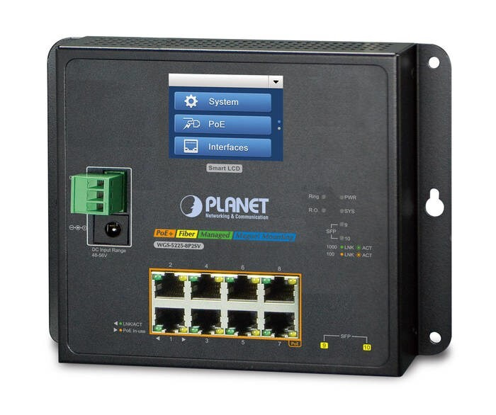 LOGO_Industrial L2+ 8G 802.3at PoE + 2G SFP Managed Ring Switch with LCD touch screen WGS-5225-8P2SV